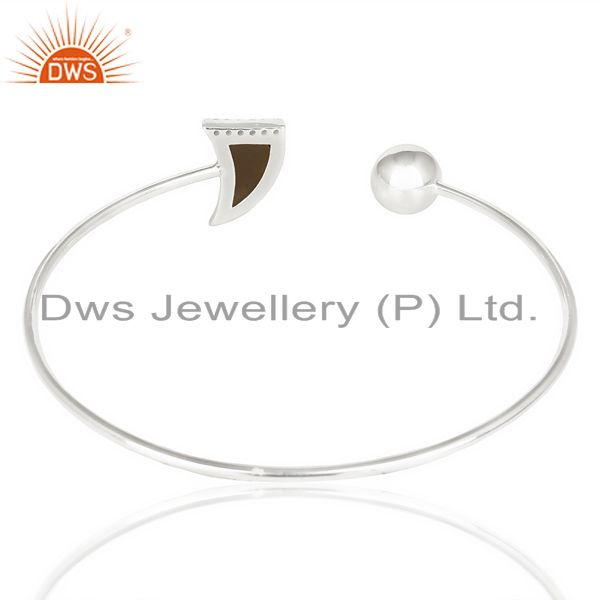 Suppliers Smoky Horn Openable Adjustable White Cz Studded 92.5 Sterling Silver Bangle