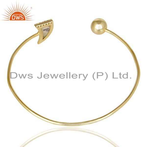 Suppliers Howlite Horn Openable Gold Plated Bangle Studded With White Cz In Solid Silver