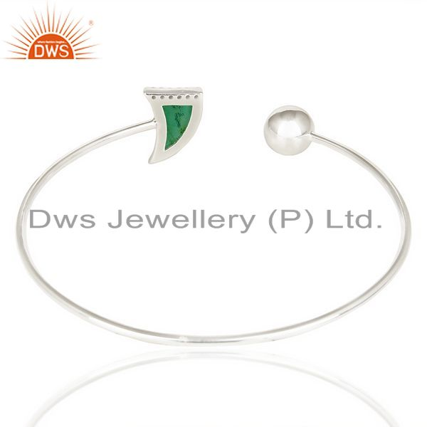 Suppliers Green Onyx Openable Horn Bangle In Solid 92.5 Sterling Silver FashionJewelry