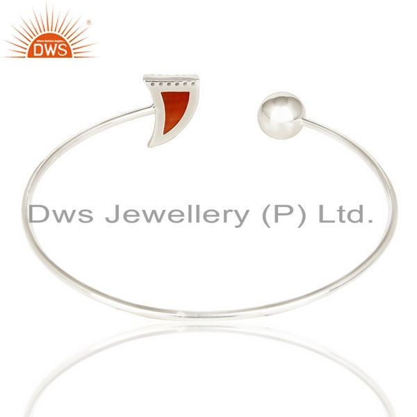 Suppliers Red Onyx Openable Horn Bangle 92.5 Sterling Silver Fashion Bangle