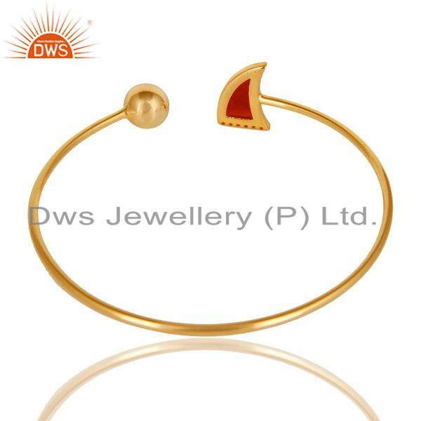 Suppliers Red Onyx CZ Sleek 14K Yellow Gold Plated 925 Sterling Silver Cuff Bangle Jewelry