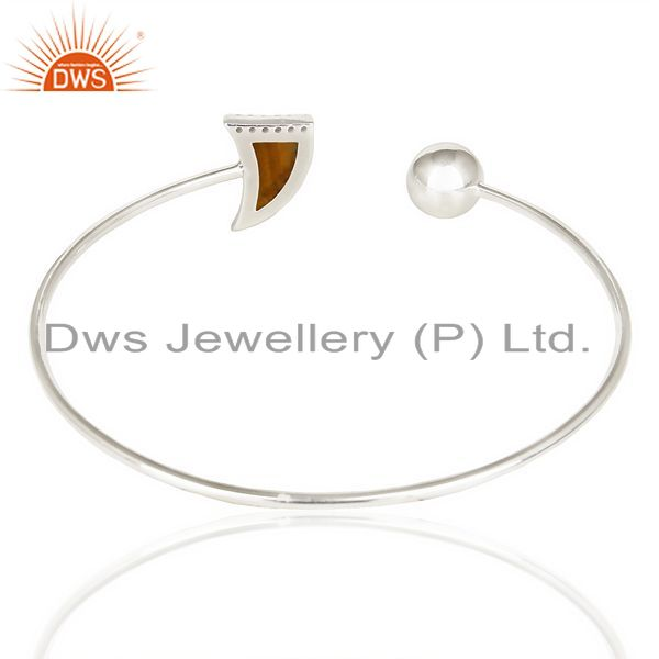 Suppliers Tigereye Studded Horn Bangle In Solid 92.5 Silver Daisy Jewelry