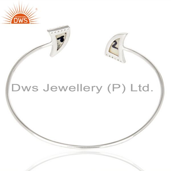 Suppliers Howlite Two Horn Studded Bangle In Solid 92.5 Sterling Silver