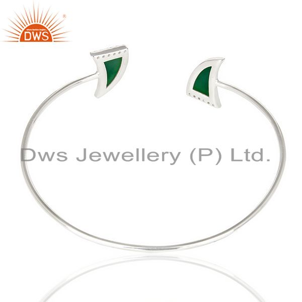 Suppliers Green Onyx Two Horn Studded Bangle In Solid 92.5 Sterling Silver