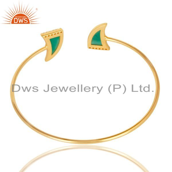 Suppliers Green Onyx CZ Sleek 14K Yellow Gold Plated Sterling Silver Cuff Bangle Jewelry