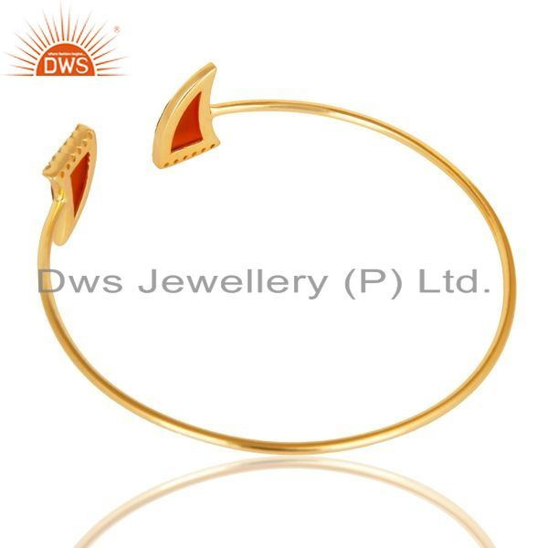 Suppliers Red Onyx CZ Sleek 14K Yellow Gold Plated Sterling Silver Cuff Bangle Jewelry