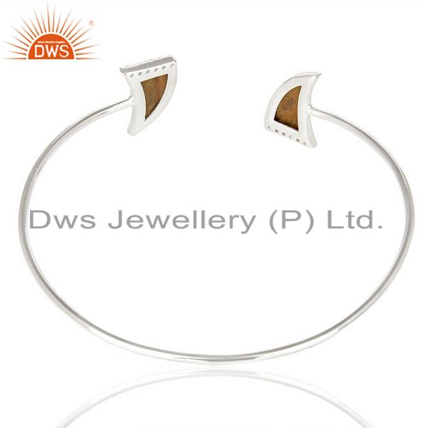 Suppliers Tigereye Two Horn Studded Bangle In Solid 92.5 Sterling Silver