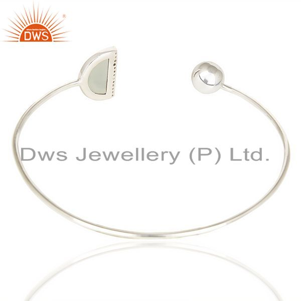 Suppliers Aqua Chalcedony Half Moon Bangle In Solid 92.5 Sterling Silver Adjustable Bangle