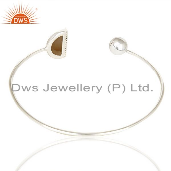 Suppliers Smoky Topaz Half Moon Bangle Studded With Cz In Solid 92.5 Sterling Silver