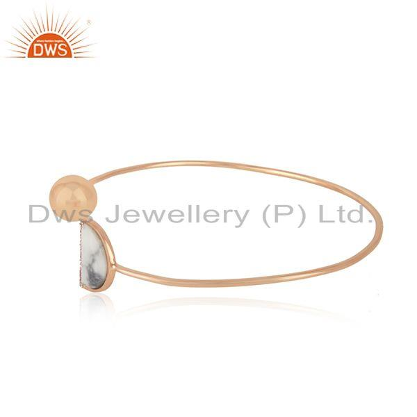 Suppliers CZ Howlite Gemstone Rose Gold Plated Silver Cuff Bangle Jewelry