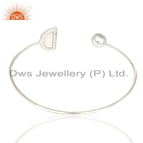 Suppliers Howlite Half Moon bangle Cz Studded Openable Adjustable Bangle In 92.5 Silver