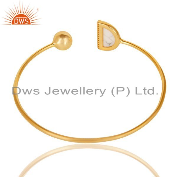 Suppliers White Howlite CZ Sleek 14K Gold Plated Sterling Silver Cuff Bangle Jewelry