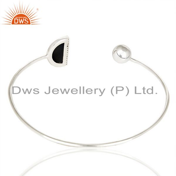 Suppliers Black Onyx Half Moon Openable Bangle Fashionable Bangle In 92.5 Sterling Silver