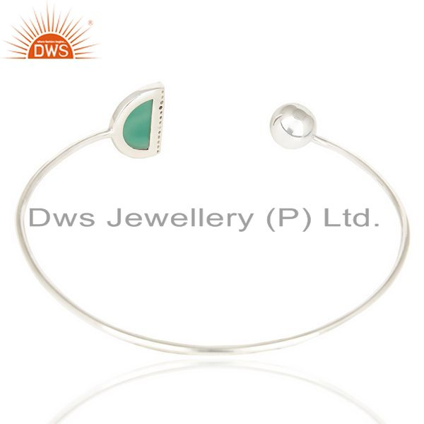 Suppliers Green Onyx Half Moon Bangle Fashionable Openable Bangle In Sterling Silver