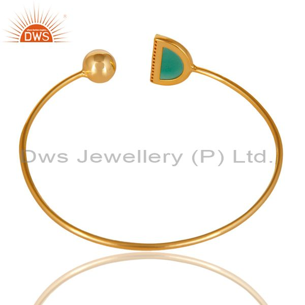 Suppliers Green Onyx CZ Sleek 14K Gold Plated Sterling Silver Cuff Bangle Jewelry