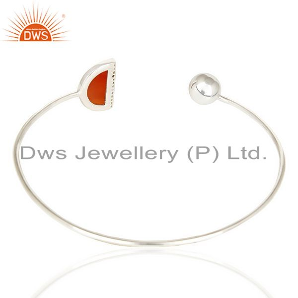 Suppliers Red Onyx Half Moon Bangle Studded In 92.5 Sterling Silver