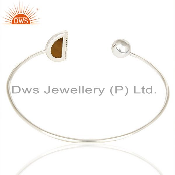 Suppliers Tigereye Half Moon Bangle Studded with Zircon In Sterling Silver