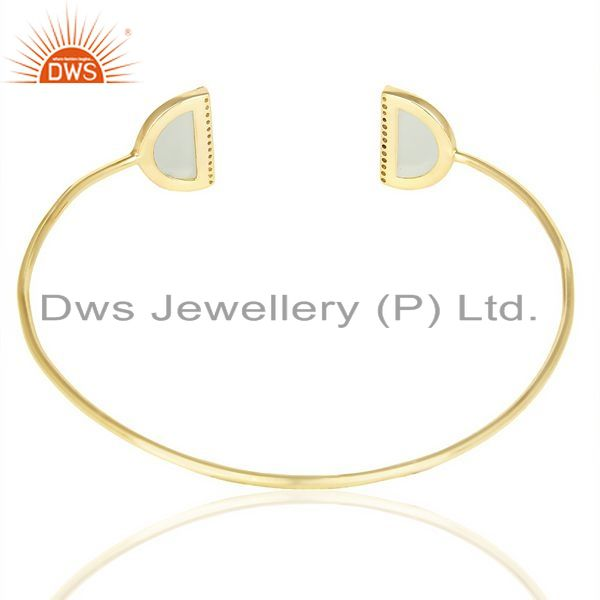 Suppliers Aqua Chalcedony Two Half Moon Gold Plated Bangle Studded With Cz In Solid Silver
