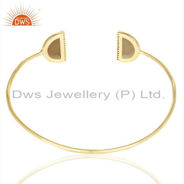 Suppliers Smoky Topaz Two Half Moon 14 KGold Plated Bangle Studded With Cz In Solid Silver