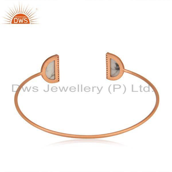 Suppliers Rose Gold Plated 925 Silver White Howlite Gemstone Cuff Bangle Manufacturer