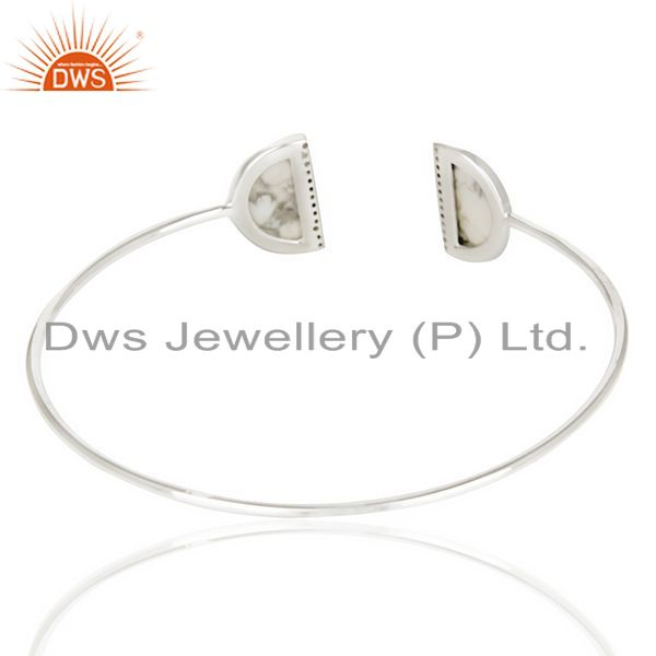 Suppliers Howlite Two Half Moon Bangle Studded With Cz In 92.5 Sterling Silver