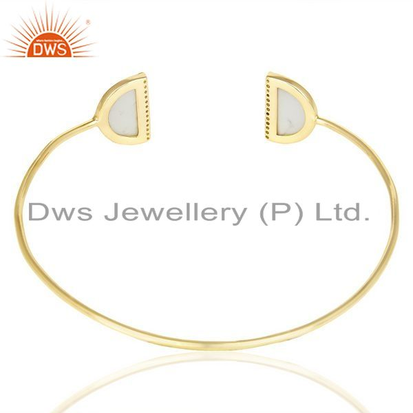 Suppliers Howlite Two Half Moon 14 K Gold Plated Bangle Studded With Cz In Solid Silver