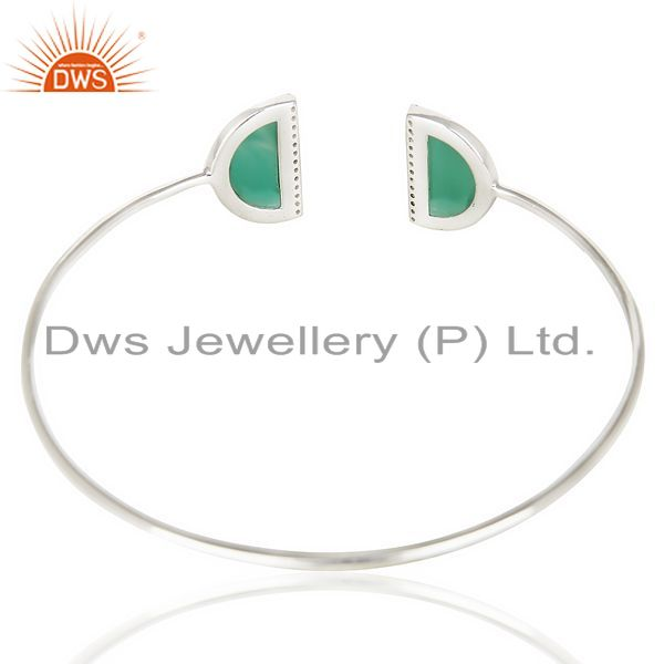Suppliers Green Onyx Studded Two Half Moon bangle In Solid 92.5 Sterling Silver