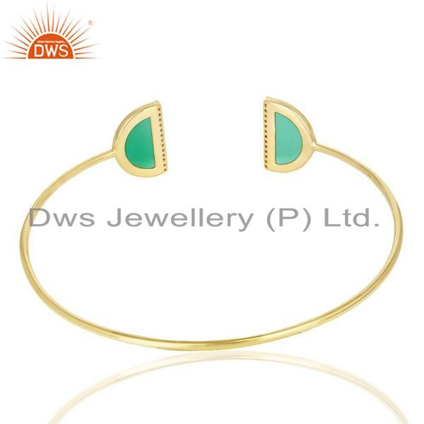 Suppliers Green Onyx Two Half Moon Studded Gold Plate Bangle In Sterling Silver