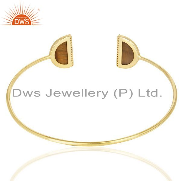 Suppliers Tigereye Two Half Moon Studded Gold Plate Bangle In Sterling Silver