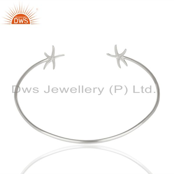 Suppliers Star Fish Style Handmade 925 Sterling Silver Cuff Plain Bangle Wholesale Jewelry