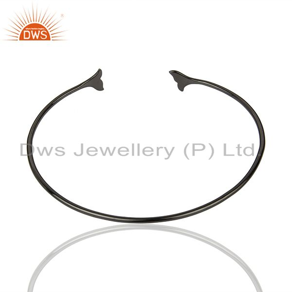 Suppliers Dolphin Tail Adjustable Openable Black Rhodium 92.5 Sterling Silver Bangle