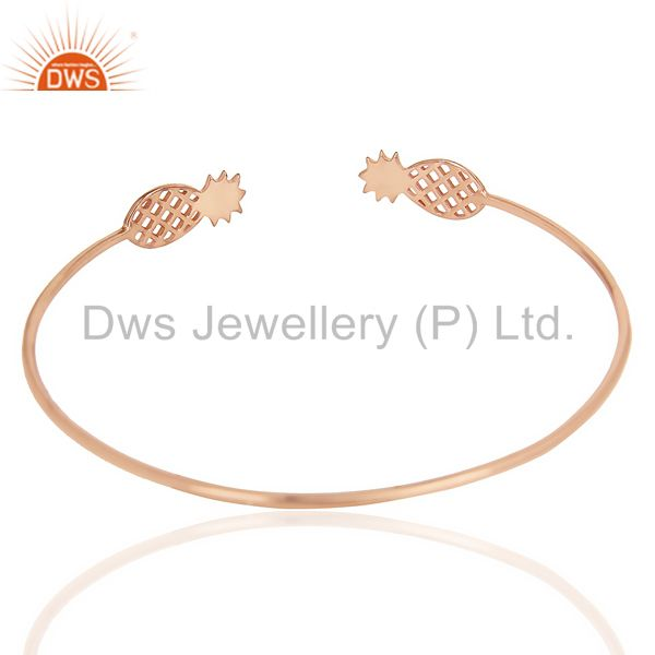 Suppliers Pineapple Openable Adjustable Cuff Bracelet Rose Gold Plated In Sterling Silver