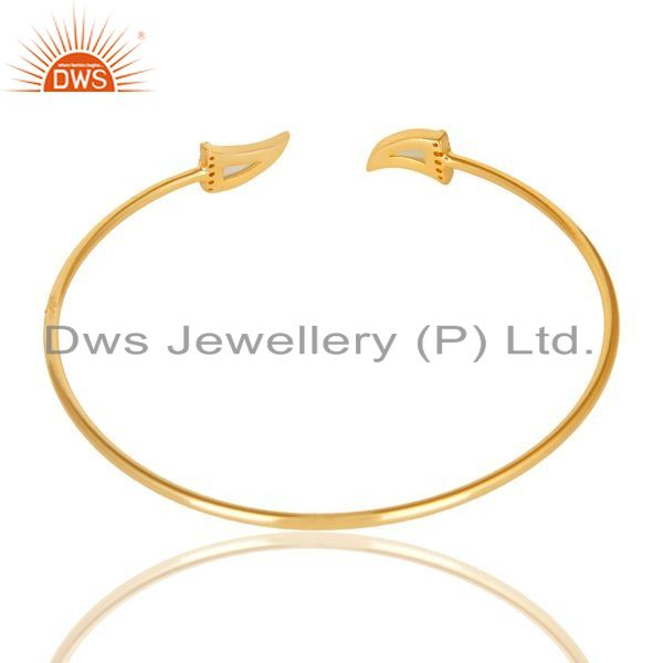 Suppliers Aqua Chalcedony Tooth Unisex Gold Plated Sterling Silver Openable Bangle