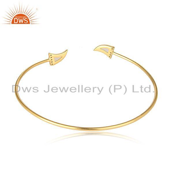 Designer of White moonstone cz gemstone horn silver gold plated cuff bangle