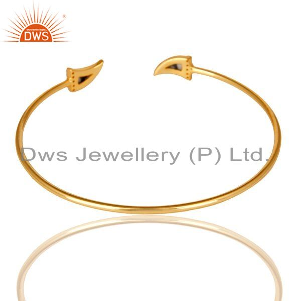 Indian Handmade Howlite Tooth Unisex Gold Plated Sterling Silver Openable Bangle