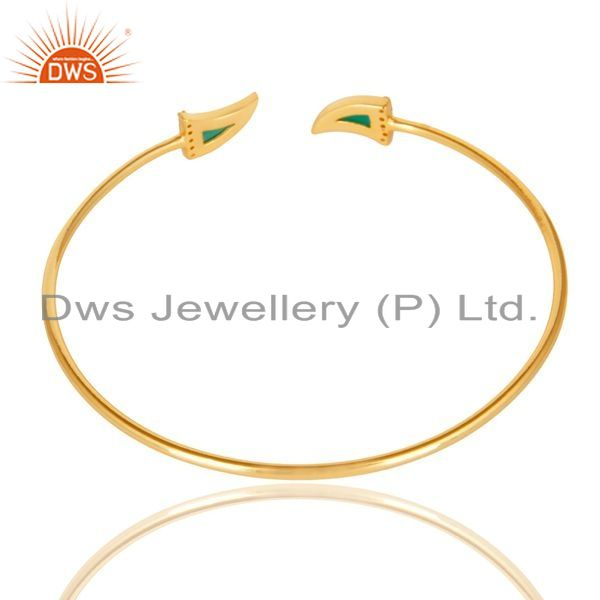 Suppliers Green Onyx Tooth Unisex Gold Plated Sterling Silver Openable Bangle