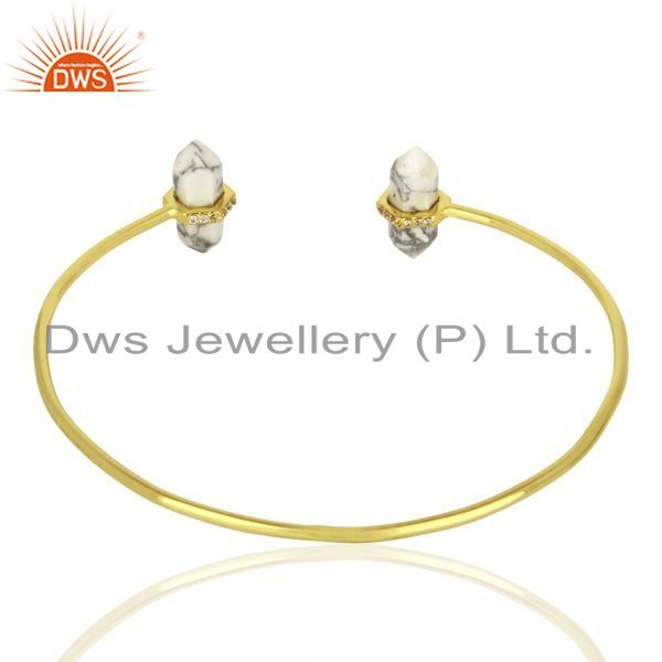 Suppliers Howlite Pencil Point Healing Openable Adjustable Gold Plated Bangle