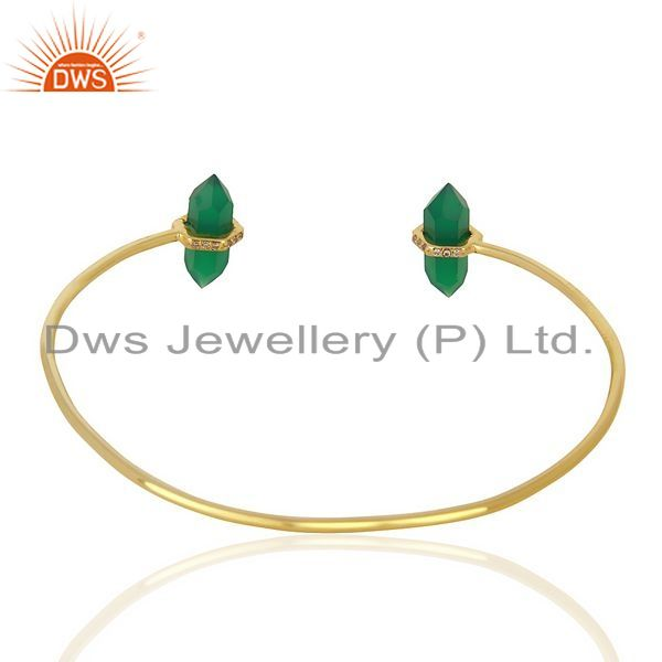 Suppliers Green Onyx Pencil Point Healing Openable Adjustable Gold Plated Bangle