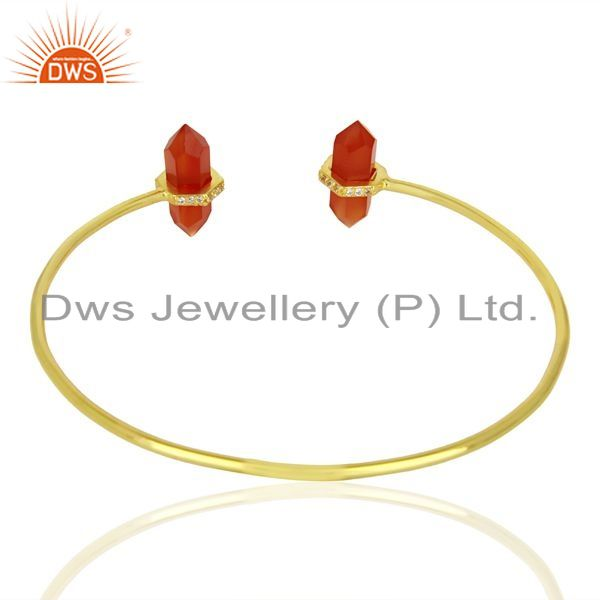 Suppliers Red Onyx Pencil Point Healing Openable Adjustable Gold Plated Bangle