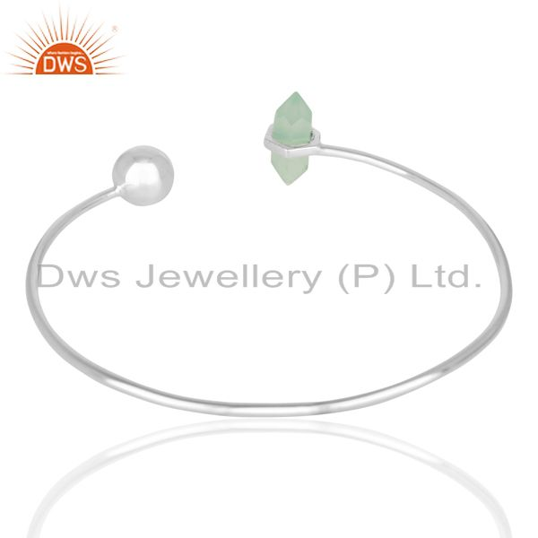 Suppliers Aqua Chalcedony Double Terminated Pencil Point Openable Sterling Silver Bangle