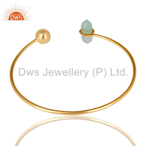 Indian Handmade Aqua Chalcedony Double Terminated Pencil Point Gold Plated Silver Bangle