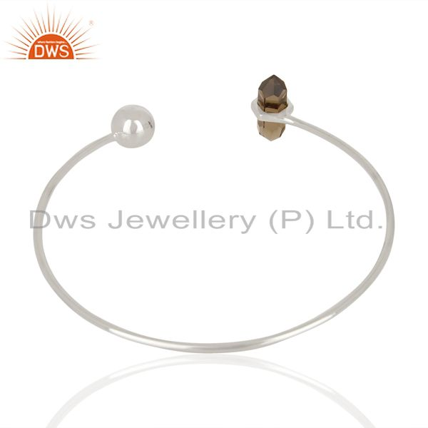 Suppliers Smoky Topaz Double Terminated Pencil Point Sterling Silver Thin Openable Bangle