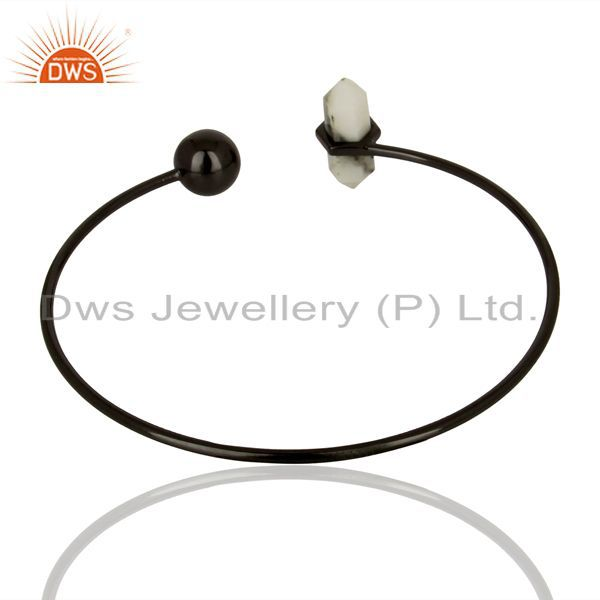 Suppliers Howlite Cuff Black Rhodium 925 Sterling Silver Bangle Gemstone Jewelry