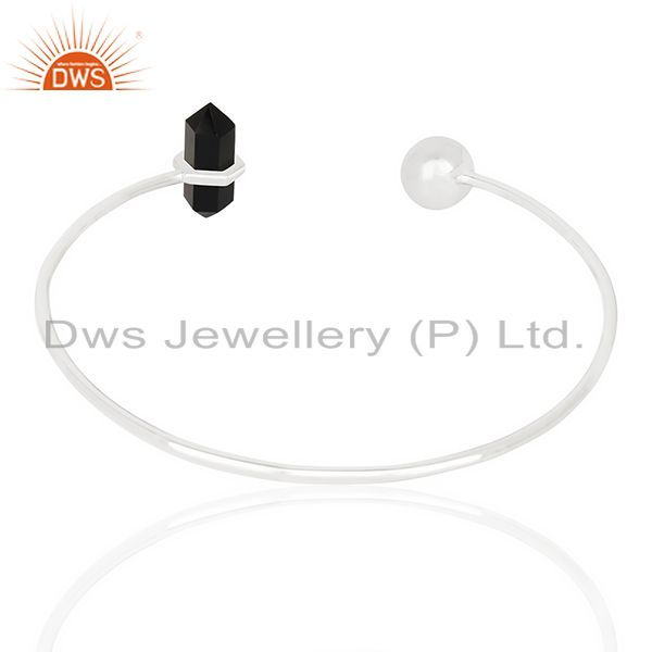 Suppliers Black Onyx Double Terminated Pencil Point Openable Sterling Silver Bangle