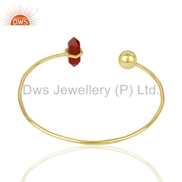 Suppliers Red Onyx Double Terminated Pencil Point Openable Gold Plated Silver Bangle