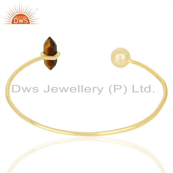 Indian Handmade Tigereye Double Terminated Pencil Point Openable Gold Plated Silver Bangle