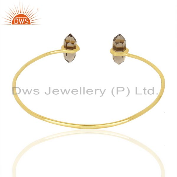 Indian Handmade Smoky Topaz Terminated Pencil Point Openable Gold Plated Silver Bangle