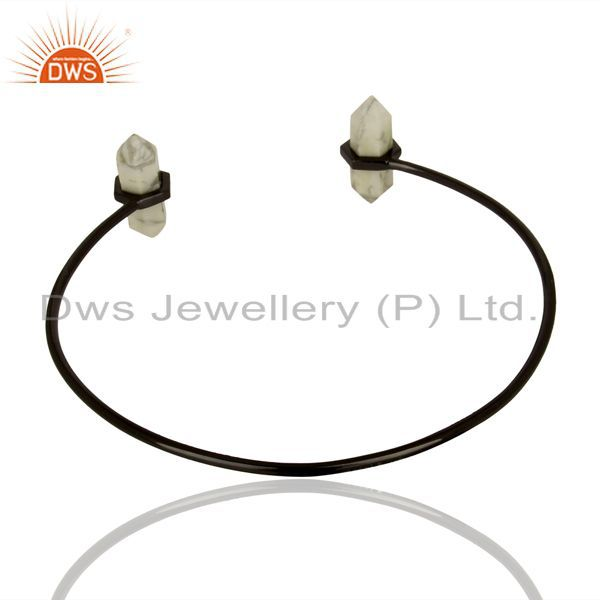 Suppliers Howlite Terminated Pencil Point Openable Black Rhodium Silver Bangle