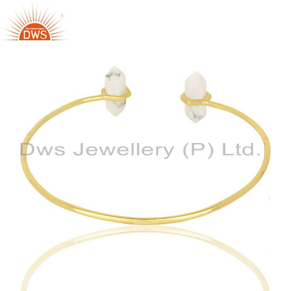 Indian Handmade Howlite Terminated Pencil Point Openable Gold Plated Silver Bangle