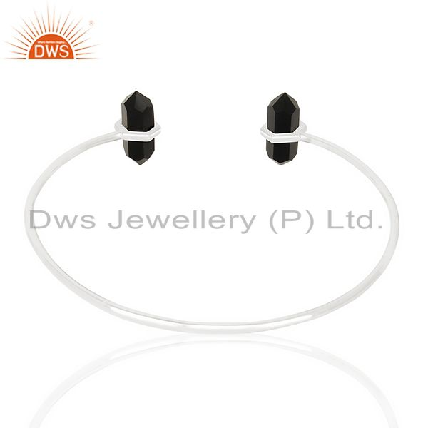 Suppliers Black Onyx Terminated Pencil Point Openable 92.5 Sterling Silver Bangle
